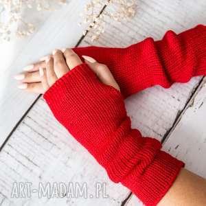 ręczne wykonanie rękawiczki mitenki jasnoczerwone