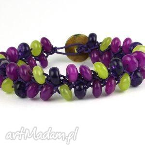 DOUBLE ARMURE: Jadeit, jadeity, kamienie, sznurek, masa, perłowa