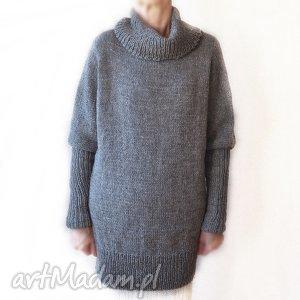 tunika ręcznie robiona, długi sweter, tunika, golf