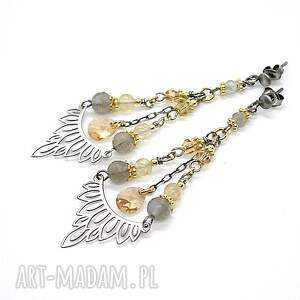 Szeherezada /silver and gold/ - kolczyki, srebro-oksydowane, pozłacane, swarovski
