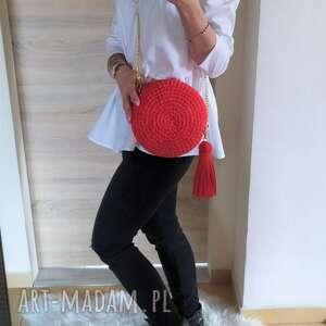 szydełkowa torebka okrągła czerwona, torebka, damska, szydełkowa