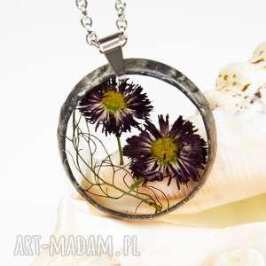 Prezent z1311 Naszyjnik z suszonymi kwiatami, Herbarium Jewelry, kwiaty w żywicy