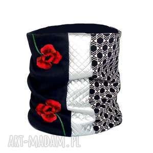ekskluzywny komin ręcznie malowany - maki, komin, kwiaty, elegancki, malowane-ręcznie