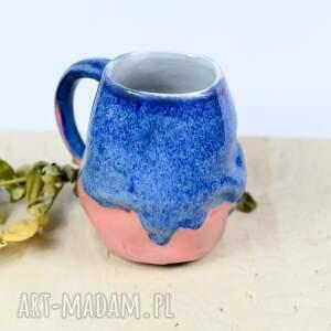 kubek średni kamionkowy - gnieciuch niebiesko różowy 350 ml, ceramika