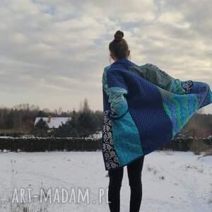 płaszcz patchworkowy długi z kieszeniami - w stylu boho, kimonowy waciak, boho