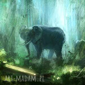 obraz słoń, dżungla - płótno malowany, obraz, dżungla, słonie, natura