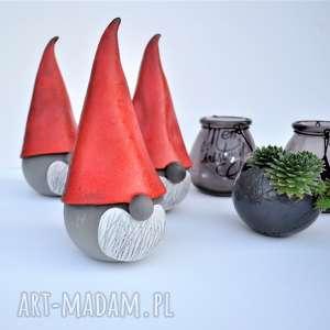 ręcznie zrobione święta prezenty świąteczny skrzat ceramiczny - gnom, krasnal