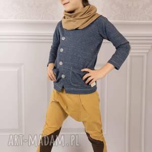 Spodnie BAGGY musztarda II, łaty, bawełna,