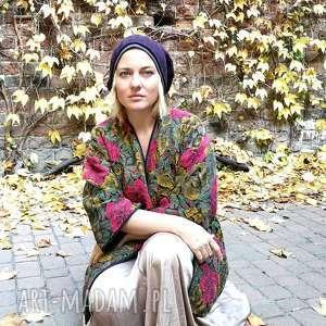czapka unisex damska męska wełna fioletowa duża zimowa, czapka, etno, wojskowa
