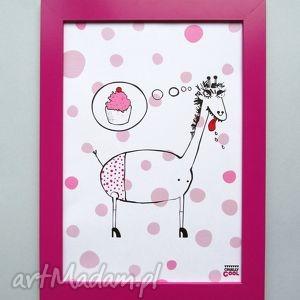 giraffes dream, żyrafa, kropki, słodycze, babeczka, kuchnia, plakat