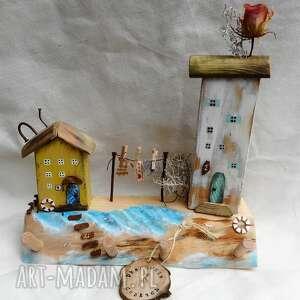 Wioska nad morzem - wieszak wieszaki pracownia na deskach domki