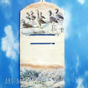 ptaki zimą dekoracyjna deseczka na kalendarz - rekodzieło, dekoracja