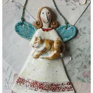 Aniołek z pieskiem Shiba Inu, ceramika, anioł, pies, lis