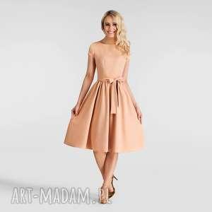 sukienka marie midi morelowy, sukienka, midi, morelowa, pasek, rozkloszowana