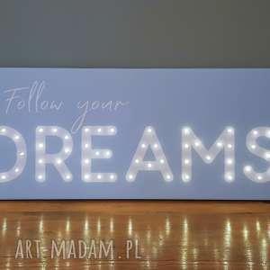 cosniecos obraz led z cytatem follow your dreams napis litery prezent na 18