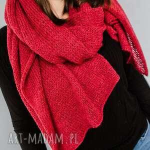 ciepły czerwony szal z wełny, wełny, zimowy szal