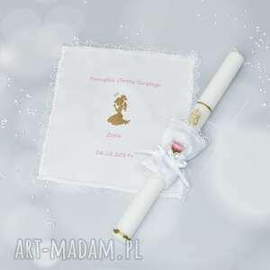 handmade dodatki szatka personalizowana i swieca z ozdoba