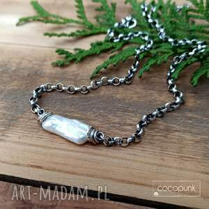 naszyjniki nieregularna perła i srebro 925- naszyjnik, choker, krótki