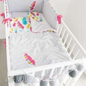 Pościel do łóżeczka PIÓRKOWY LAS, piórka, dla-dziecka, dla-dziewczynki, pióra