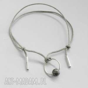 OKRĄG bransoletka, srebro, kamień, sznurek