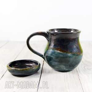 hand made ceramika kubek z podstawkiem akwamaryn