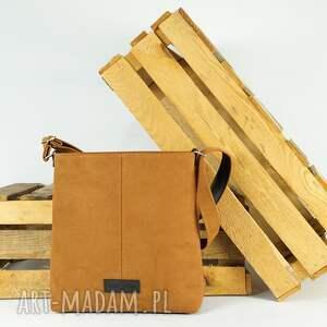 listonoszka big zip, size l kolor rudy brąz, torebka na ramię, nubuk, produkt