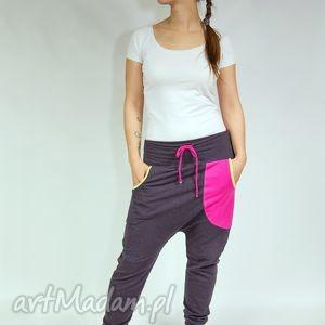 spodnie lilian - dres czekolada róż , baggy, obniżony, krok, bawełna, dresowe, yoga