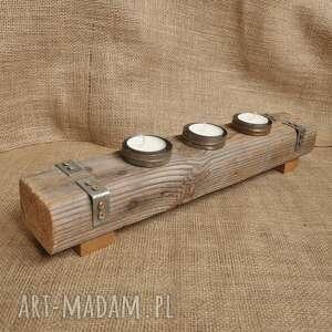 Świecznik drewniany, stare drewno, loft, industrialny 1