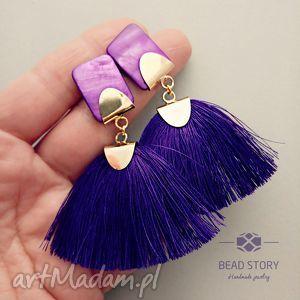 violet candy, sztyfty, metal, muszla, chwost biżuteria