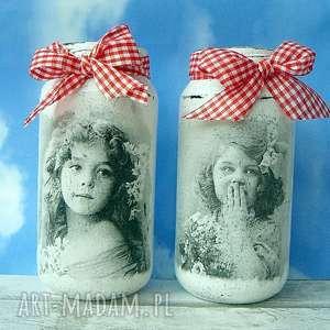 dziewczynki - vintage dekoracyjne słoiczki - szare dekoracje, rękodzieło