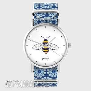 ręczne wykonanie zegarki zegarek - pszczoła niebieski, kwiaty, nato