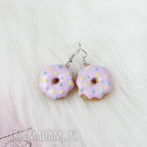 kolczyki pączki donuty, kolczyki, modelina, pączki