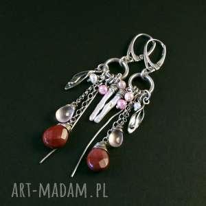 handmade kolczyki perły, listki i łzy mokaitu