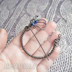 blue crystals - broszka do swetra lub szala z kryształkami