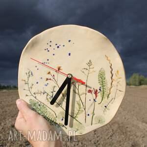zegar ceramiczny kwiaty polne, na ścianę, mechanizm płynący
