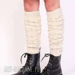 2 w 1 getry lub rękawki warkoczowy wzór - beż, ciepłe, getry, na nogi
