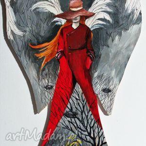 dekoracje obraz namalowany na drewnie anioł przejścia, anioł, skrzydła, drewno, akryl