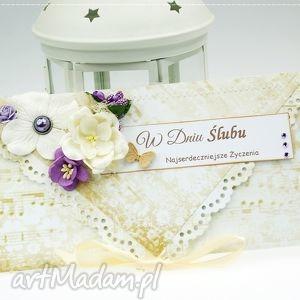 kopertówka z okazji ślubu- wrzosowy poranek - wesele, ślub, kartka