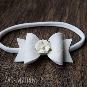 opaska do włosów floral bow biała, opaska, kokardka, filc, niemowlęca, chrzciny