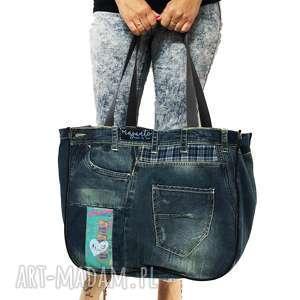 duża torba upcykling jeans 33 desigual od majunto, upcykling, upcycling
