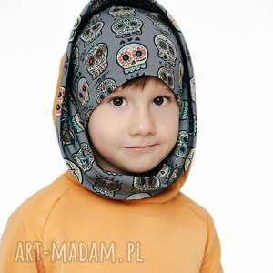 bluza dla dziecka z komino-kapturem czachy etno musztarda 80/86, 92/98, 104/110