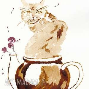 herbaciana kocica - obraz kawą malowany aksinicoffeepainting, nostalgia