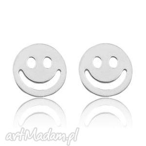 sotho srebrne kolczyki z uśmiechem, buźka, delikatne, sztyfty