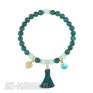 ręcznie wykonane bransoletki bransoletka z morskich jadeitów - boho