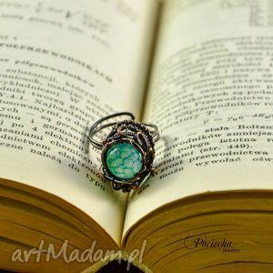 waruna - pierścionek z agatem, pierścionek, miedź, agat, niebieski, pociechajewelry