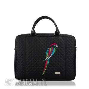 na laptopa torebka papuga 451, pikowana, haft, papuga, laptopowa torebki