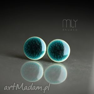 unikalny, szmaragdy spękane 9mm, ceramiczne, okrągłe, sztyfty, wkrętki, błyszczące