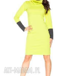 sukienka c_6 z kontrastowym kominem i mankietami, komin, golf, wygodna, dresowa
