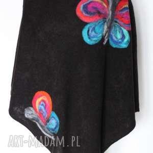 czarne damskie poncho filcowane, poncho, sweter, jesień, wełna, ciepłe, kurtka