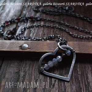 naszyjniki dla wyjątkowej naszyjnik z sercem, granaty, labradoryt, srebro